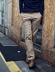 Men's Straight Business Pants,Casual/Daily Simple Solid Mid Rise Zipper Cotton Micro-elastic All Seasons