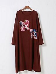Women's Sports Work Cute Chinoiserie Swing Dress,Print Round Neck Midi Long Sleeve Cotton All Seasons Mid Rise Micro-elastic Medium