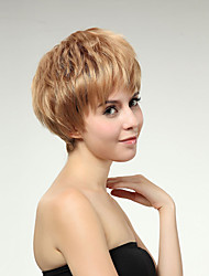 Capless Short Side Bang Synthetic Wigs for Women Blonde with Free Hair Net