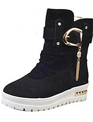 Women's Boots Spring Platform Cashmere Casual Low Heel Platform Chain Black Red Khaki Walking