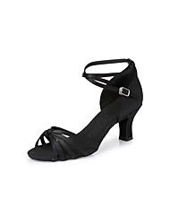 Women's Dance Shoes Satin Satin Latin Heels Chunky Heel Indoor Black / Brown CL03 CL13