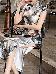 Damen Tunika Kleid-Ausgehen / Formal Retro / Chinoiserie Blumen Ständer Maxi Kurzarm Grau Baumwolle Herbst / Winter Hohe Hüfthöhe