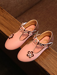 Girl's Flats Spring Fall Other Comfort PU Casual Flat Heel Sparkling Glitter Flower Magic Tape Pink Red White Other
