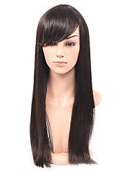 Cheap Long Straight Hair Synthetic Wig With Bangs Glueless Synthetic Wig Natural Color Straight Hair Wig