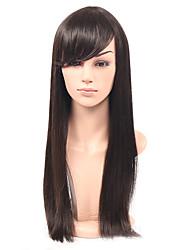 pas cher longue perruque synthétique cheveux raides avec une frange perruque synthétique perruque couleur glueless cheveux raides naturel
