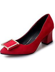 Women's Heels Spring Fall Comfort PU Casual Low Heel Black Pink Red Other