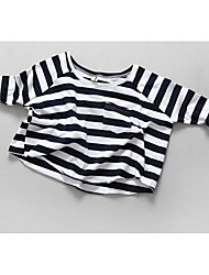 Menina Camiseta Casual Listrado Verão / Outono Algodão Manga Longa Regular