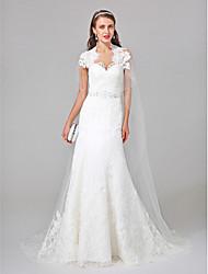 Lanting Bride® A-Linie Hochzeitskleid Watteau Schleppe Queen Anne Tüll mit Perlstickerei Spitze Applikationen