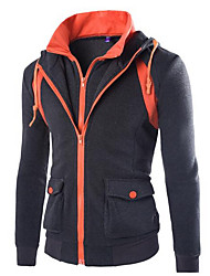 Men's Casual/Daily Active Punk & Gothic Hoodie Color Block Micro-elastic Cotton Long Sleeve Fall Winter