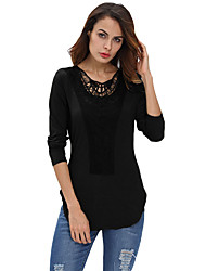Women's Black Crochet Front Long Sleeve Top