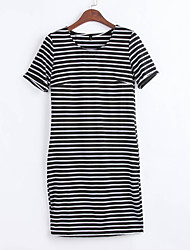 Women's Casual/Daily Simple / Cute Shift Dress,Striped Round Neck Above Knee Short Sleeve