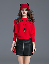 Women's Casual/Daily Simple Fall / Winter Skirt Suits,Solid Round Neck Long Sleeve Red / Gray Polyester