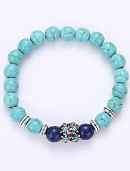 Natural Turquoise Alloy Spacer Transport Bead Bracelet