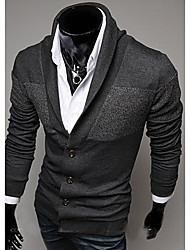 Men's Casual/Daily / Formal Vintage Long Cardigan,Solid Blue / Red / Gray V Neck Long Sleeve Wool Winter Thick Stretchy