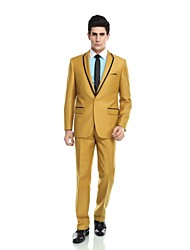 Costume(Jaune,Viscose / Laine et polyester / Polyester / Rayon (T / R),2 Pièces)Coupe Sur-Mesure