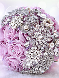 Luxry Rinestone Diamond Beads Bouquet PE Artificial Handmade Rose Flower (More Colors)