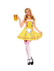 Festival/Holiday Halloween Costumes Yellow Solid Dress / Leg Warmers / Headwear Halloween / Christmas / Carnival Female