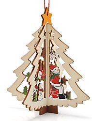 3pcs noël bois de décoration de table de cadeau de bonhomme de neige de Noël avec ornement pour x'mas articles d'ameublement de bonhomme