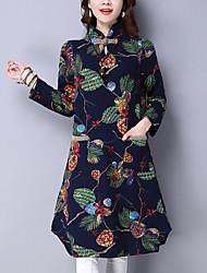 Feminino Solto Vestido, Para Noite estilo antigo Estampado Colarinho Chinês Médio Manga Longa Azul / Vermelho Algodão / Linho Inverno