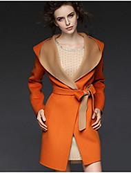 Manteau Femme,Couleur Pleine Sortie / Décontracté / Quotidien / Soirée / Cocktail simple Manches Longues Capuche Orange Laine Moyen