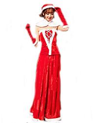 Cosplay Kostuums Kerstmanpakken Film Cosplay Rood Effen Top / Rok / Shawl / Handschoenen / Riem / Hoeden Kerstmis Vrouwelijk Polyester