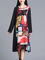 Women's Elegant chic Loose Dress Print / Patchwork Round Neck Midi Long Sleeve Red / Black Cotton / Linen Fall Mid Rise Inelastic