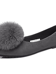 Women's Flats Fall Winter Platform Comfort Other Animal Skin Dress Casual Low Heel Beading Black Gray Walking