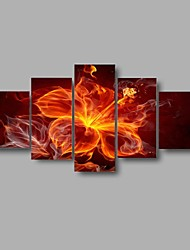 HD Print blooming Flower painting red brown Abstract modular picture home Decor 5 panels wall art (No Frame)