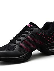 Women's Dance Shoes Fabric Fabric Dance Sneakers Sneakers Flat Heel Practice / Outdoor Pink / White / Gold