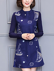 Women's Plus Size / Slim chic A Line DressPrint / Patchwork Round Neck Mini Long Sleeve Blue / Red Polyester Winter Mid Rise