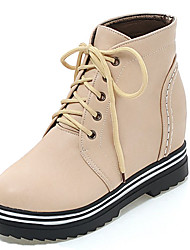 Women's Boots Spring / Fall / Winter Fashion Boots / Round Toe / Closed Toe   / Dress / Casual Low Heel Lace-upBlack /
