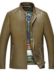 Masculino Jaquetas de Couro Casual Simples Primavera / Outono,Sólido Preto / Marrom / Amarelo Poliuretano Colarinho Chinês-Manga Longa