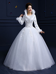 Ball Gown Wedding Dress Floor-length Scoop Cotton / Lace / Tulle with Beading / Feather / Fur / Lace / Sequin