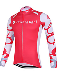 QKI Traveling Ligh Cycling Jersey Women's Long Sleeve Bike Breathable / Quick Dry / Anatomic Design / Front Zipper / Sweat-wicking Jersey Polyester