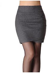 Damen Röcke,Bodycon einfarbig Gefaltet,Lässig/Alltäglich Einfach Mittlere Hüfthöhe Über dem Knie Elastizität Wolle UnelastischHerbst /