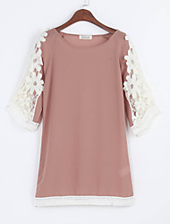 Women's Going out Street chic Loose Dress,Patchwork Round Neck Mini ½ Length Sleeve Pink Others Summer