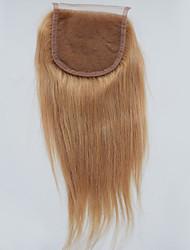 4x4 Fermeture Droit (Straight) Cheveux humains Fermeture Brun roux Dentelle Suisse 30g-80g gramme Cap Taille