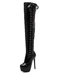 Women's Boots Winter Platform Patent Leather Dress Stiletto Heel Black