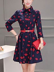 Women's Slim belt chic A Line Dress Print Shirt Collar Mini  Sleeve Blue Polyester Spring Mid Rise Micro-elastic Medium