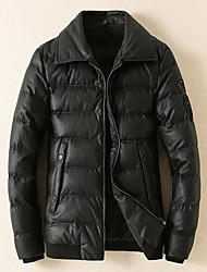 Men's Down Coat,Simple Casual/Daily Solid-Cotton White Duck Down Long Sleeve Black