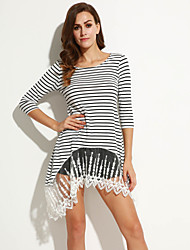 Women's Simple / Street chic Striped T Shirt Dress , Round Neck Above Knee Cotton / Polyester
