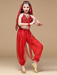 Dança do Ventre Roupa Crianças Actuação Chiffon Poliéster Moedas de Ouro Lantejoulas 6 Peças Sem Mangas NaturalCinto Calças Braceletes