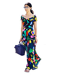 Women's Casual/Daily Simple Loose Dress,Geometric Round Neck Midi Short Sleeve Multi-color Silk Summer / Fall Mid Rise Micro-elasticThin