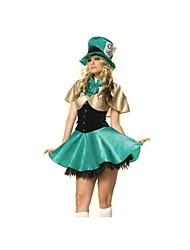 Fantasias de Cosplay Rainha Festival/Celebração Trajes da Noite das Bruxas Verde Cor Única Vestido / Chapéus / Mais AcessóriosDia Das