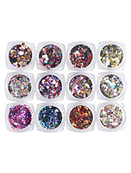 12pcs/lot Sequins Nail Art Decoration Color Powder