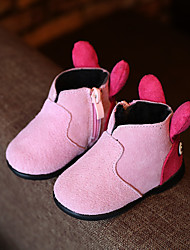 Girl's Boots Comfort Cowhide Casual Black / Yellow / Pink / Red