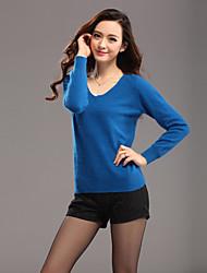 Для женщин Офис Праздник Очаровательный Шинуазери (китайский стиль) Обычный Пуловер Однотонный,Синий Красный V-образный вырезДлинный