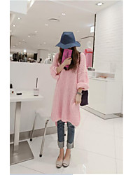 Women's Casual/Daily Simple Sweater Dress,Print Round Neck Above Knee Long Sleeve Pink Cotton Fall Mid Rise Stretchy Medium