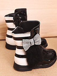 Girl's Boots Winter Others Comfort Leatherette Outdoor Casual Flat Heel Bowknot Zipper Black Peach Others