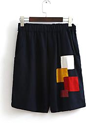 Femme Ample Shorts Pantalon,Vintage Sortie Blocs de Couleur Taille Haute Elasticité Coton Micro-élastique Eté